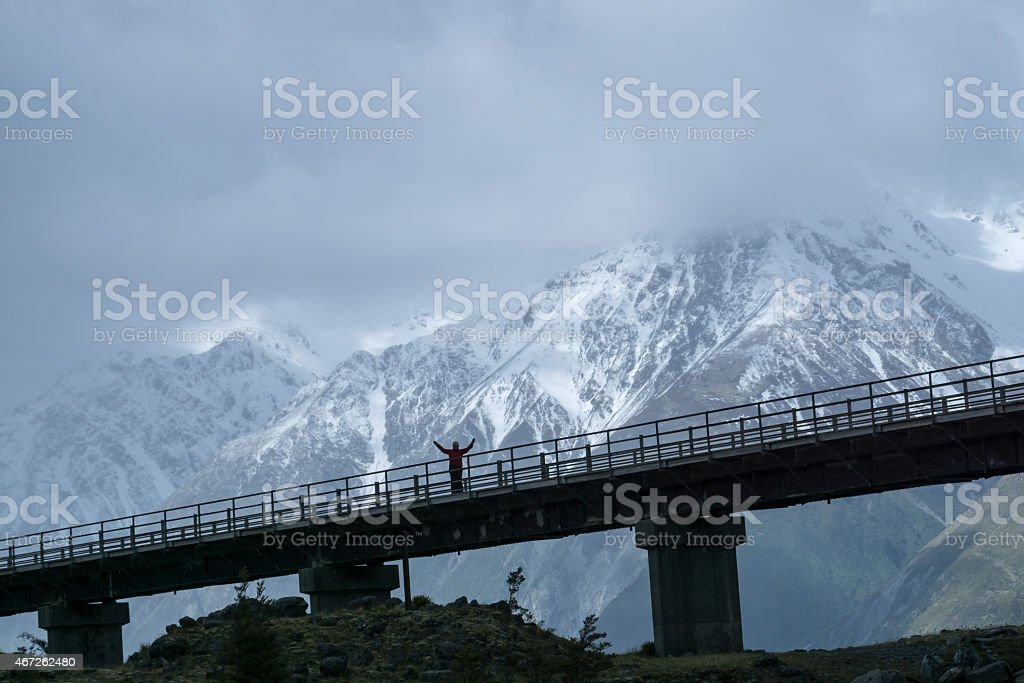 Mount Cook Arms Outstretched on Bridge stock photo