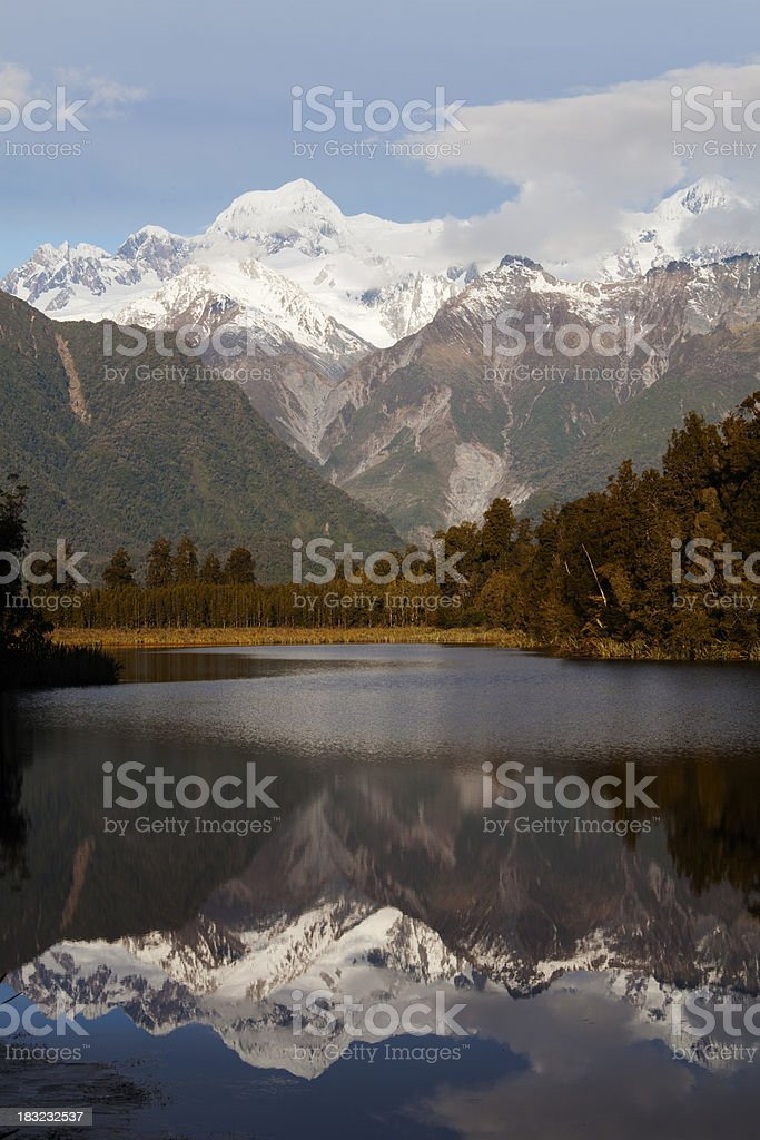 Mount Cook at Lake Matheson in the late afternoon sun stock photo