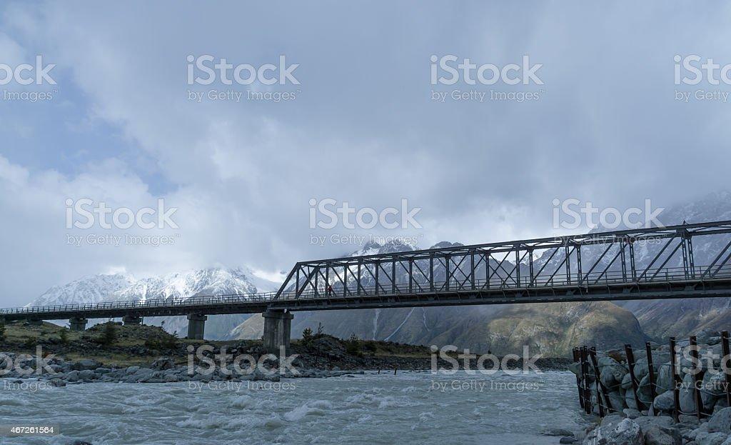 Mount Cook Bridge Over Hooker River stock photo