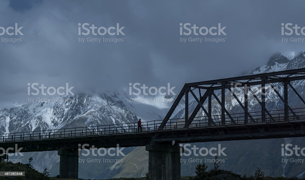 Mount Cook Dark Silhouette stock photo