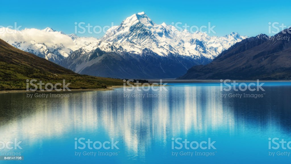 Mount Cook in New Zealand stock photo
