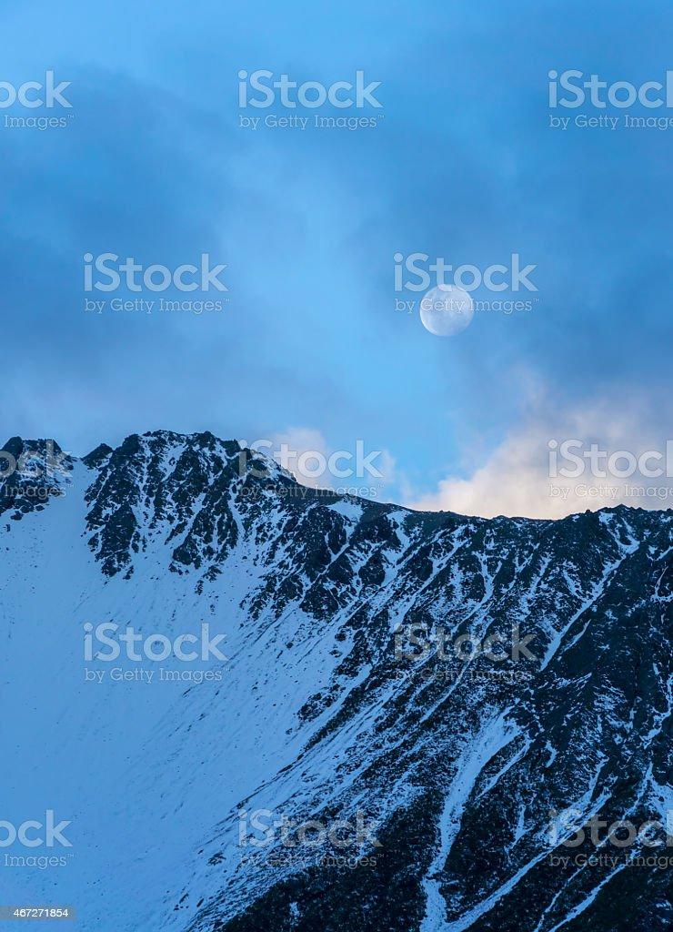 Mount Cook Moon Closer stock photo