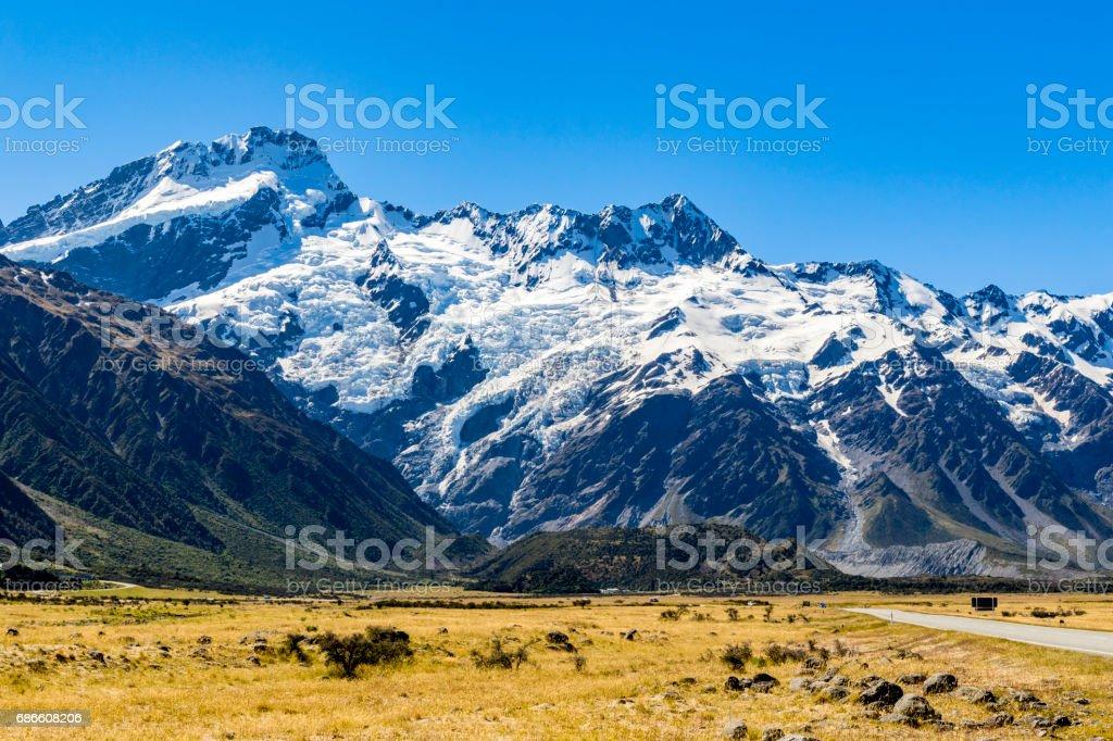 Mount Cook mountain range stock photo