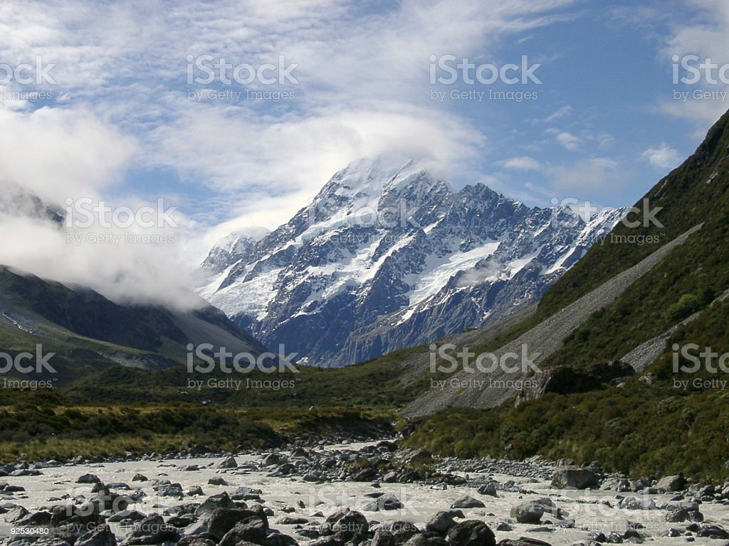 Mount Cook, New Zealand in dramatic clouds royalty-free stock photo
