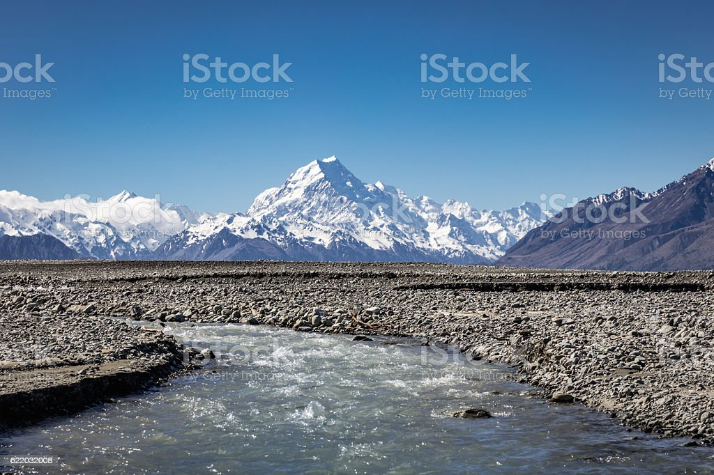 Mount Cook New Zealand Lake Pukaki Glacier Stream stock photo