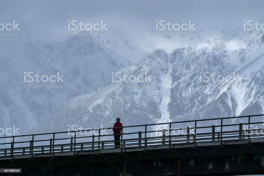 Mount Cook Person stock photo