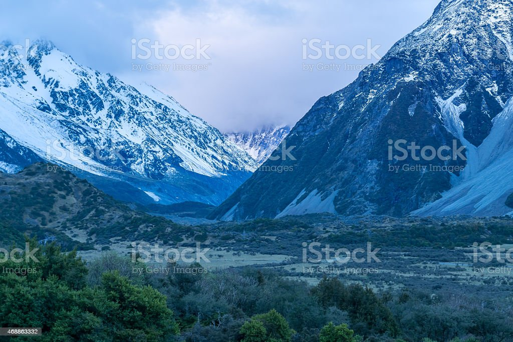 Mount Cook Village Cloudy Sunset stock photo