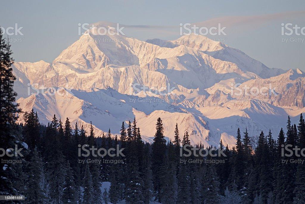 Mount Denali in January stock photo