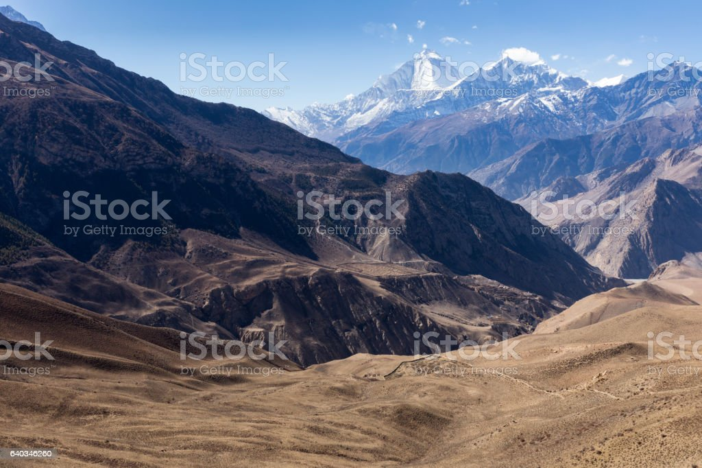 Mount Dhaulagiri and Tukuche Peak. Nepal stock photo