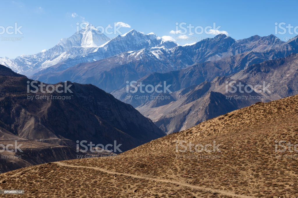 Mount Dhaulagiri and Tukuche Peak stock photo