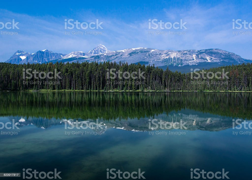 Mount Edith Cavell from Leach Lake. stock photo