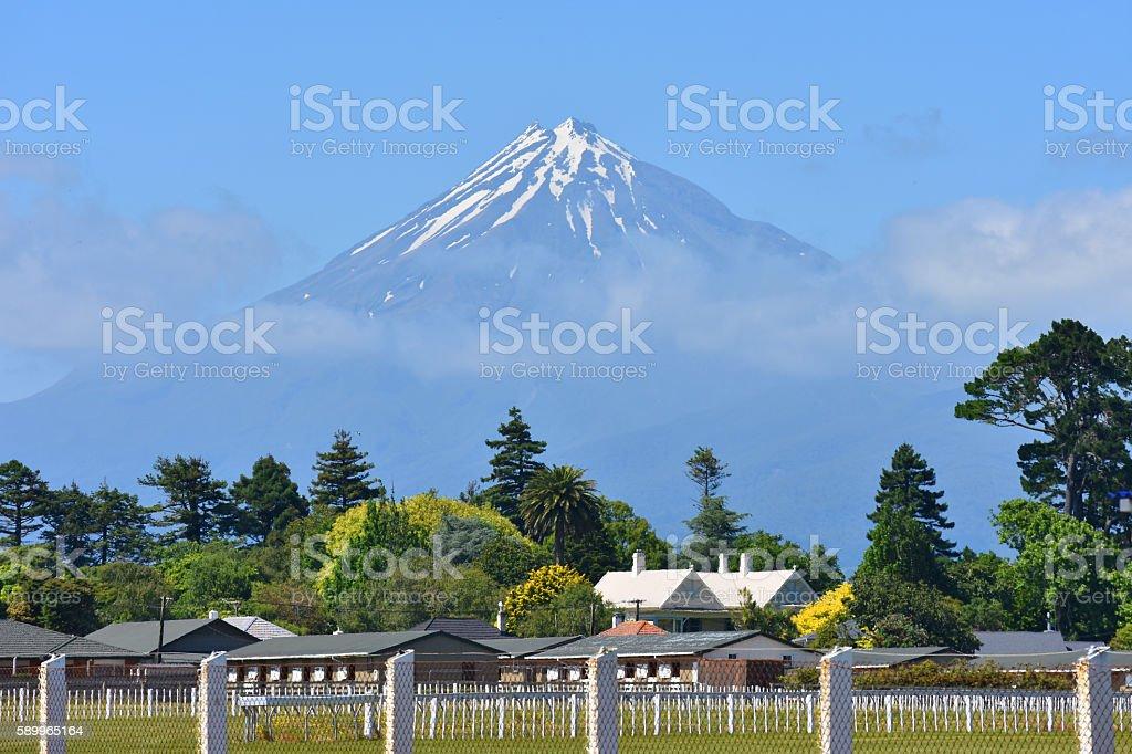 Mount Egmont in Taranaki stock photo