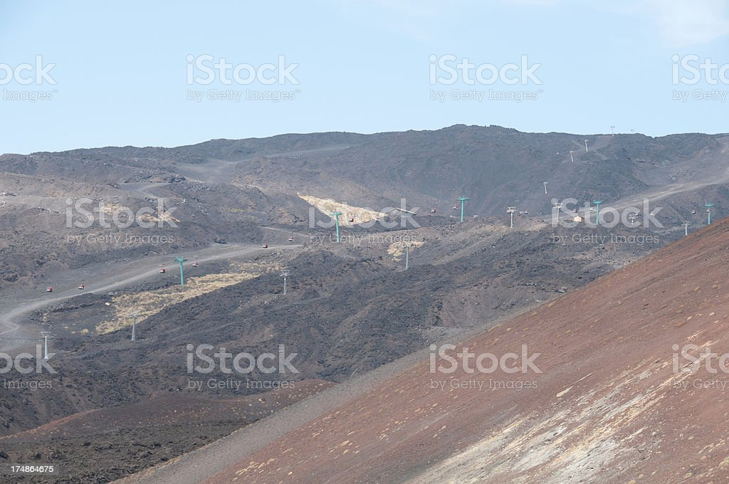 Mount Etna Cable Cars royalty-free stock photo