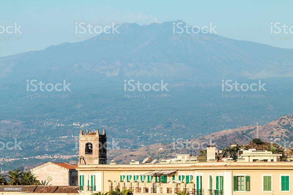 Mount Etna in Taormina, Sicily stock photo