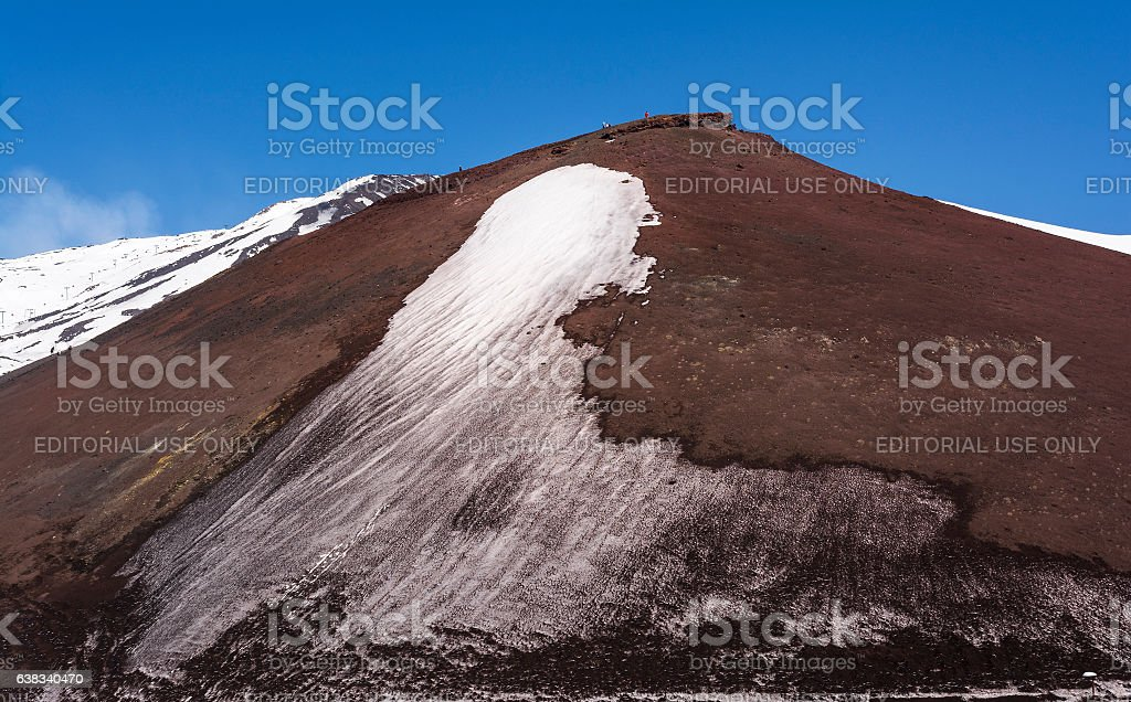 Mount Etna peak with snow and volcanic rocks, Sicily, Italy stock photo