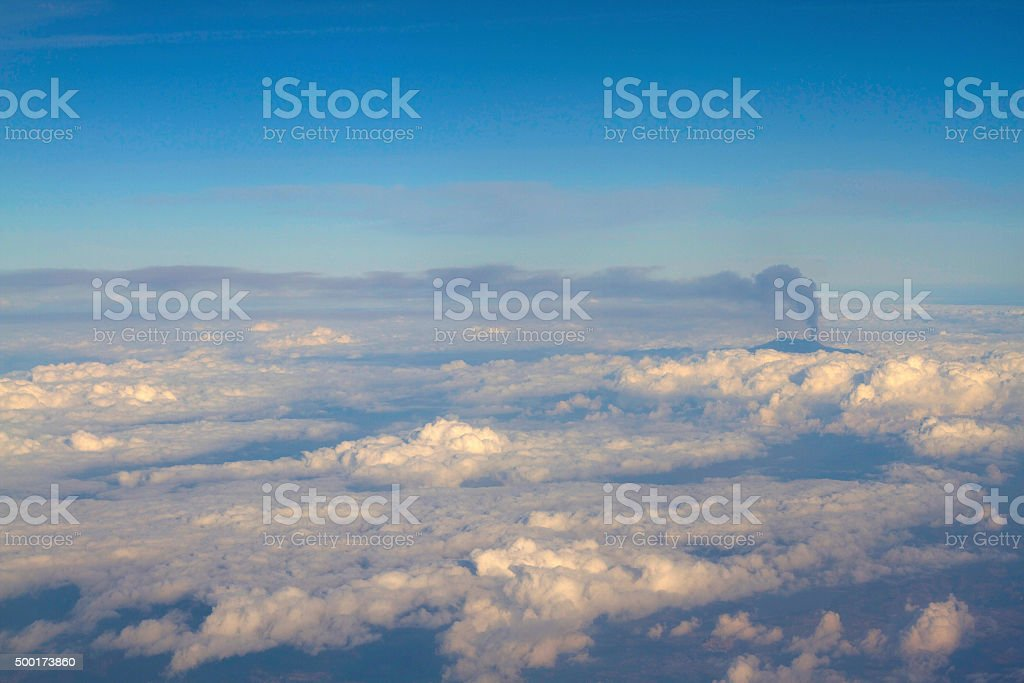 Mount Etna Violent Eruption Seen From Air Over Center Sicily stock photo