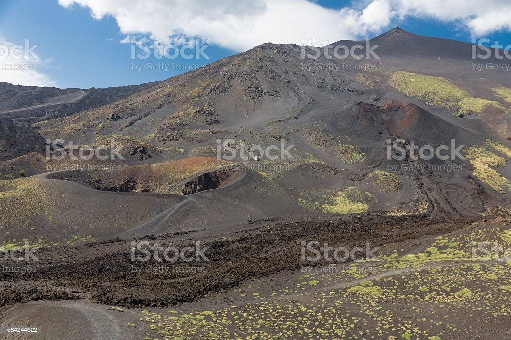 Mount Etna with craters and solidified lava flows at Sicily stock photo