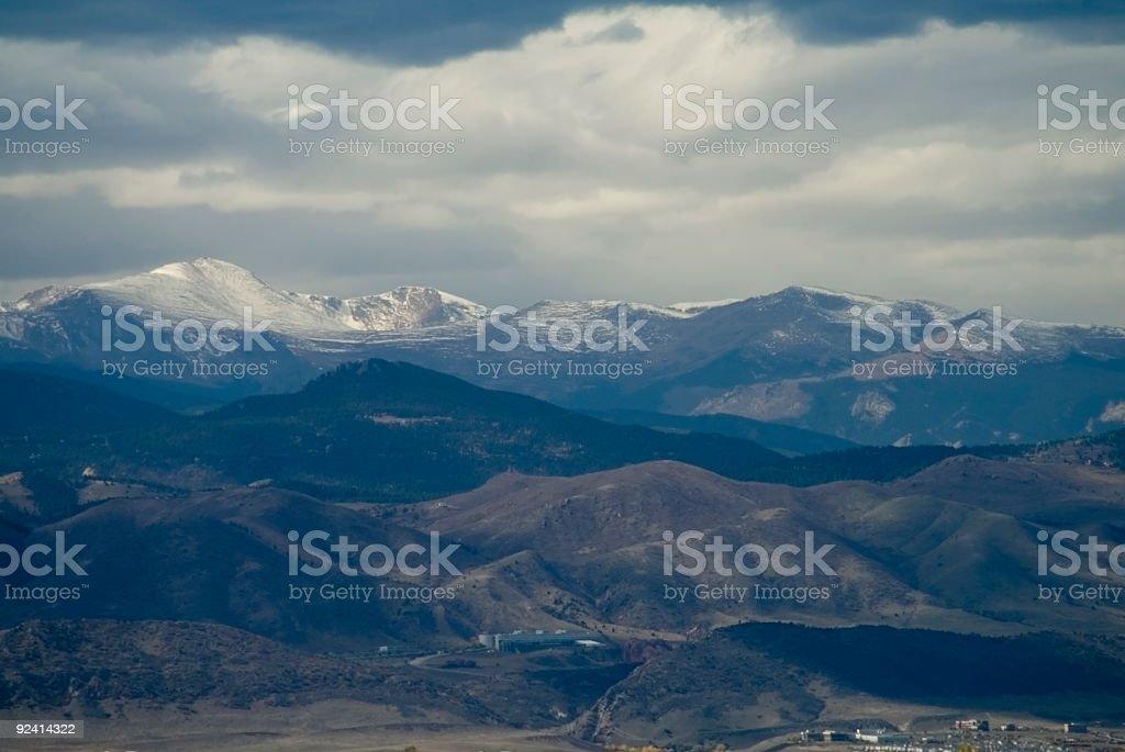 Mount Evans and Denver Foothills stock photo