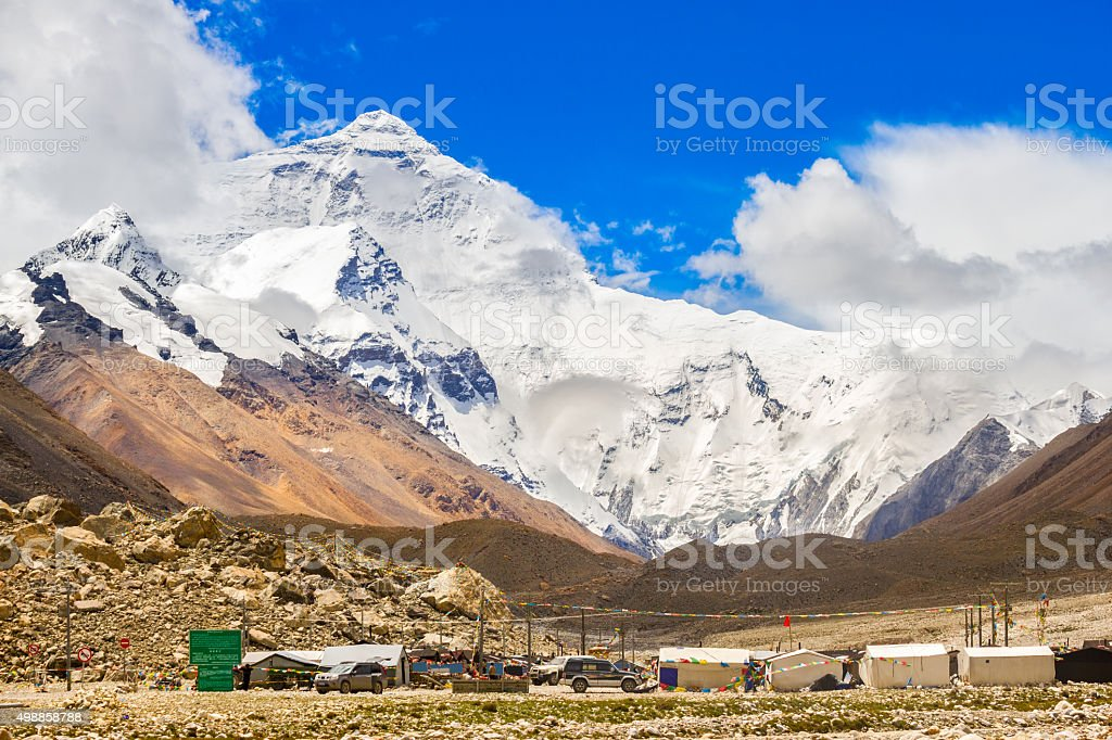 Mount Everest and Base Camp Tibet stock photo