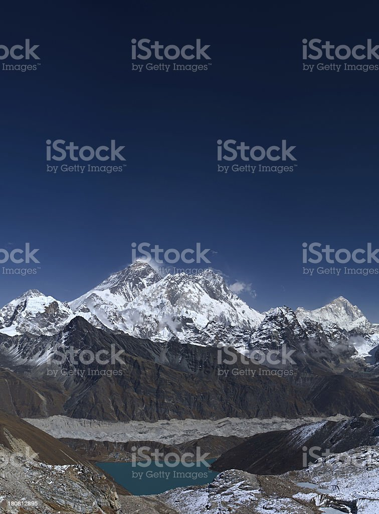 Mount Everest and Gokyo from Renjo La, Himalaya's panorama royalty-free stock photo