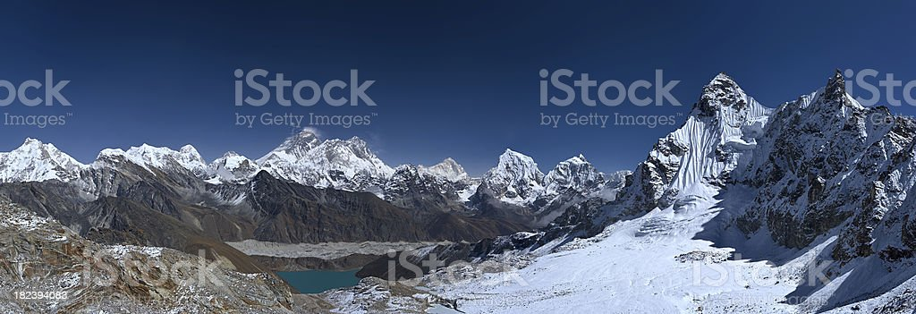 Mount Everest and Gokyo from Renjo La royalty-free stock photo