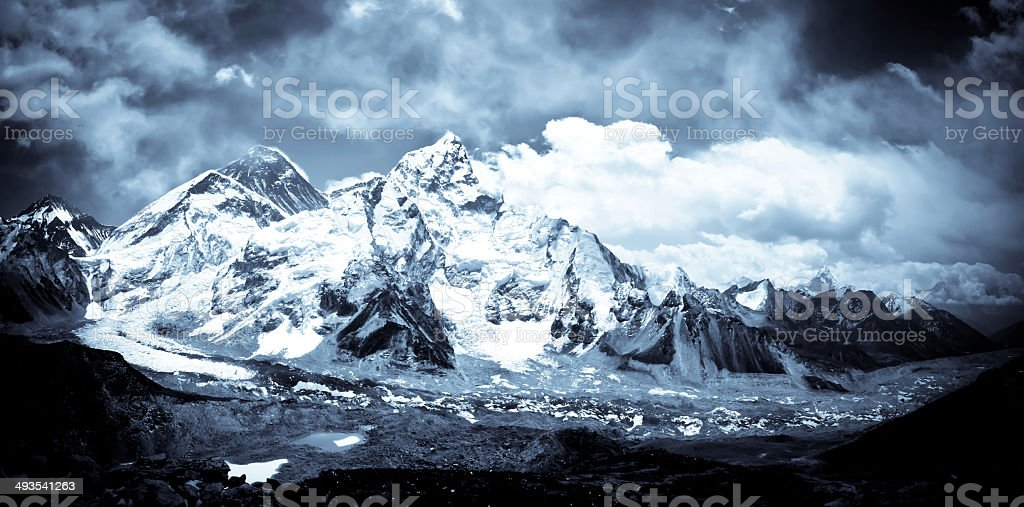 Mount Everest and Khumbu valley in Himalayas royalty-free stock photo