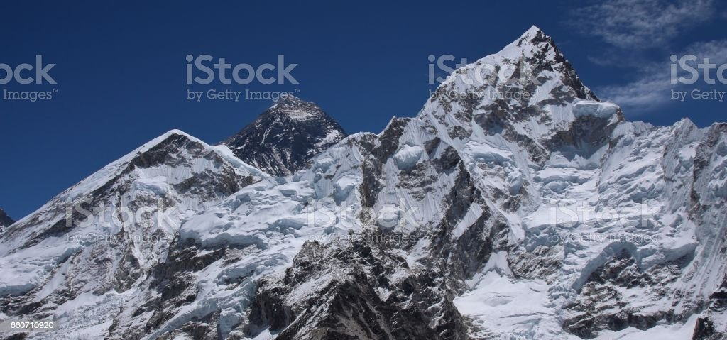 Mount Everest and Nuptse in spring stock photo