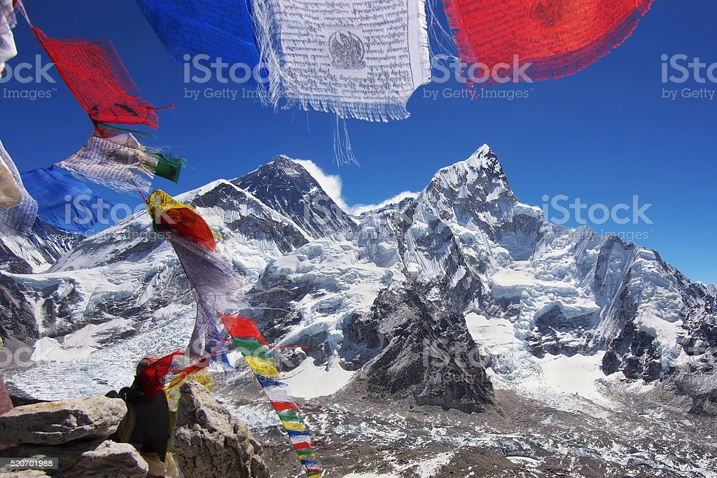 Mount Everest and Nuptse in the Nepal Himalaya stock photo