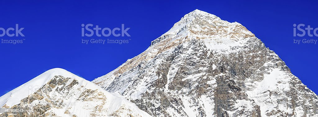Mount Everest and Nuptse panoramic view from Kala Pattar 28MPix royalty-free stock photo