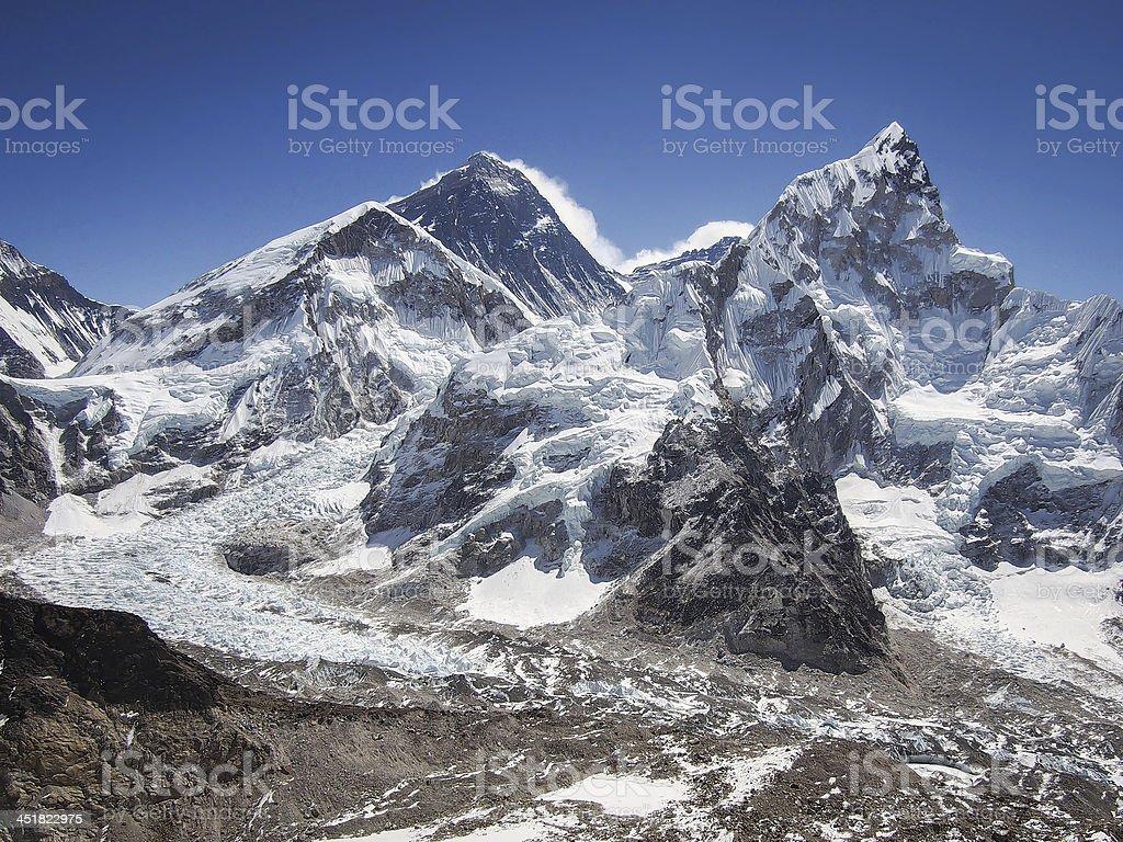 Mount Everest and Nuptse Seen from Kala Patthar stock photo