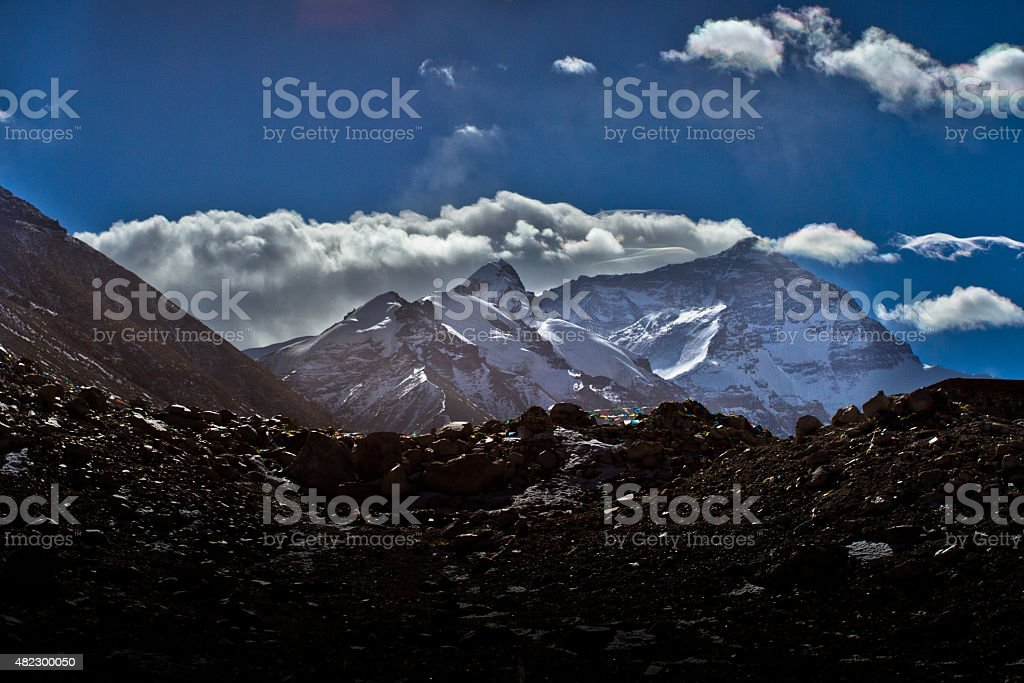Mount Everest Base Camp Tibet stock photo