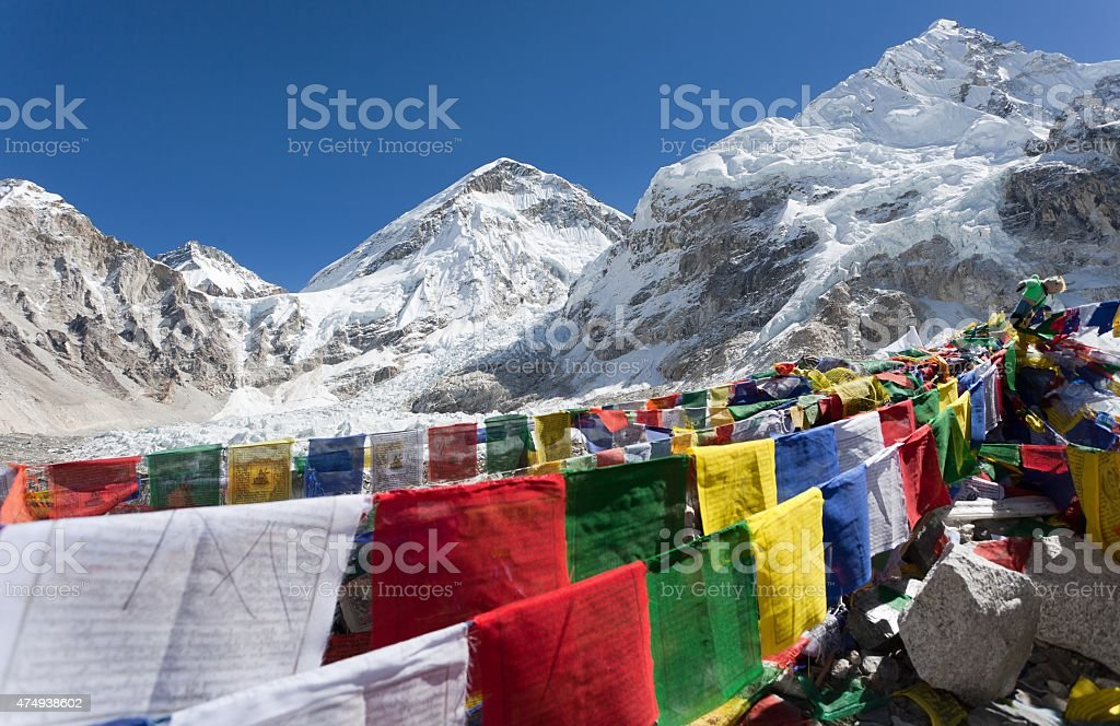 Mount Everest base camp with rows of buddhist prayer flags stock photo
