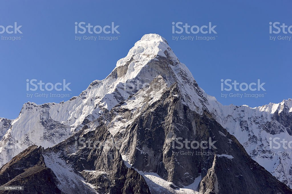 Mount Everest Circuit against a blue sky stock photo