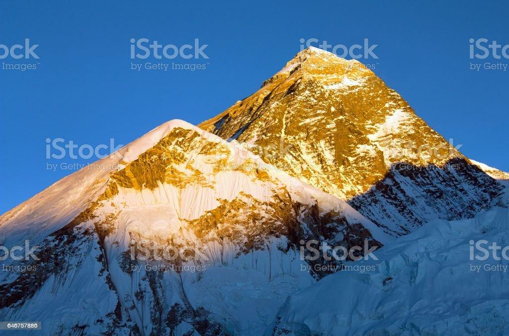 Mount Everest evening panoramic view stock photo