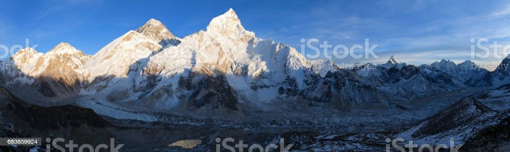 Mount Everest evening panoramic view stock photo