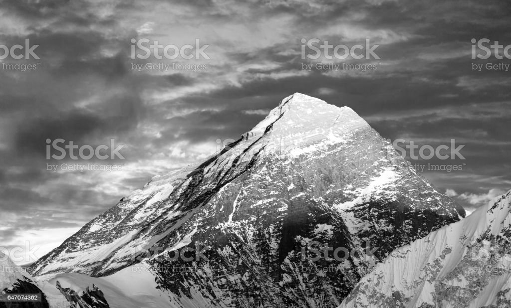 Mount Everest from Gokyo valley stock photo