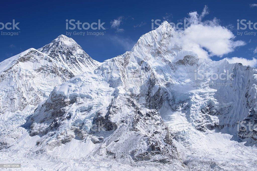 Mount Everest from Kalar Pattar stock photo