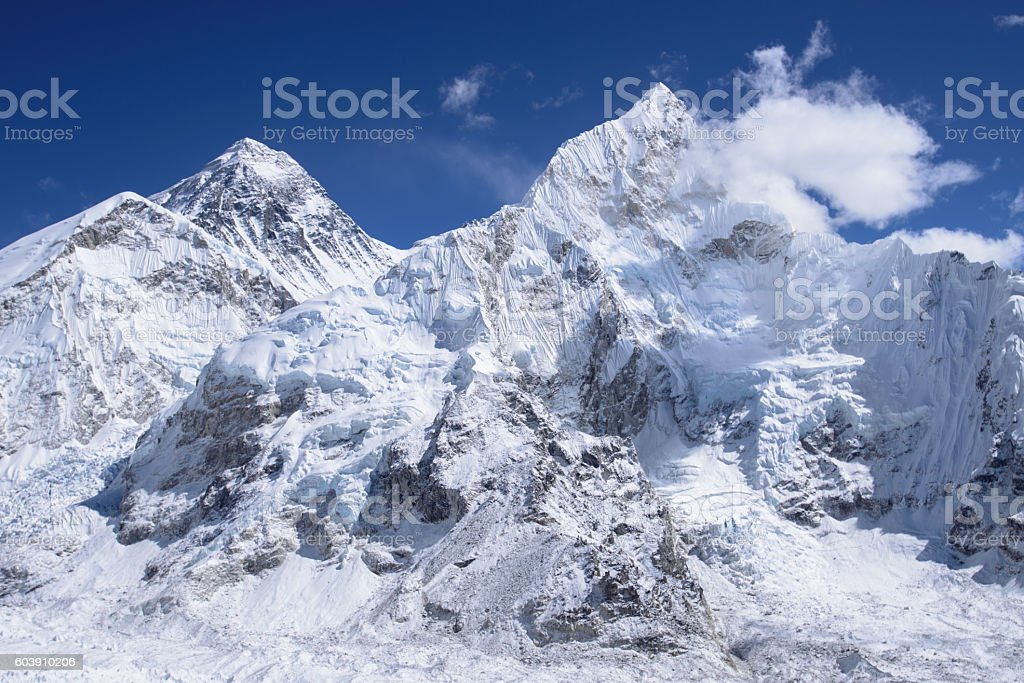 Mount Everest from Kalar Pattar stock photo