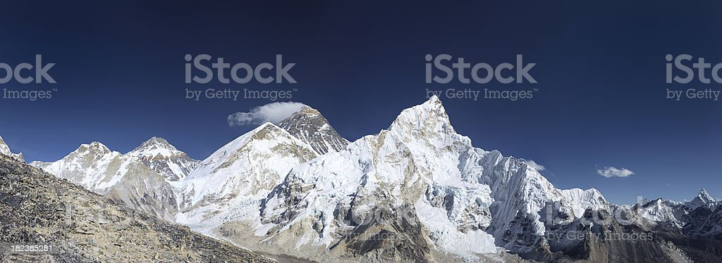 Mount Everest, Lhotse and Nuptse from Kala Pattar, 90MPix panorama royalty-free stock photo
