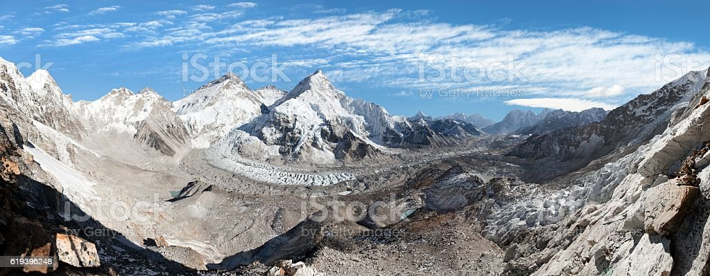 mount Everest, Lhotse and nuptse from Pumo Ri base camp stock photo