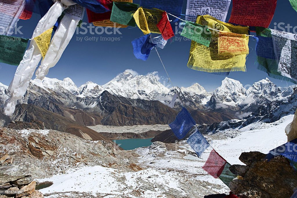 Mount Everest, Lhotse and Nuptse from Renjo La stock photo