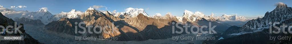 Mount Everest, Lhotse, Makalu and Cho Oyu stock photo