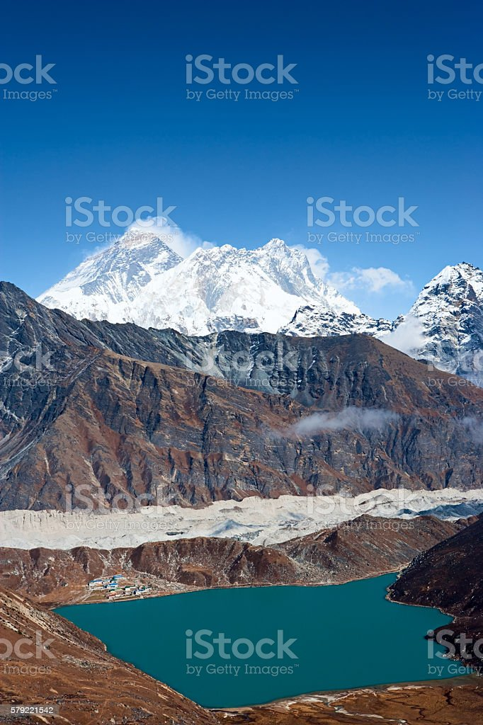 Mount Everest, Lhotse, Nupste and Gokyo from Renjo Pass stock photo