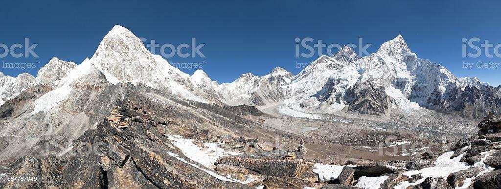 Mount Everest, Lhotse, Nuptse, Pumo Ri and Kala Patthar stock photo