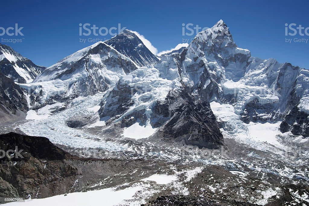Mount Everest, Nuptse and the Khumbu Icefall in Nepal stock photo