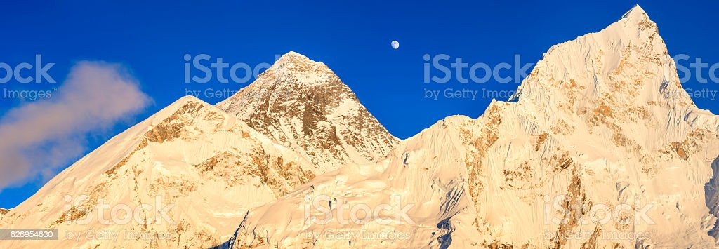 Mount Everest, Nuptse panoramic view stock photo