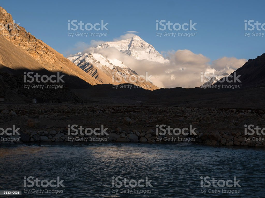 Mount Everest view from Everest base camp of Tibet stock photo