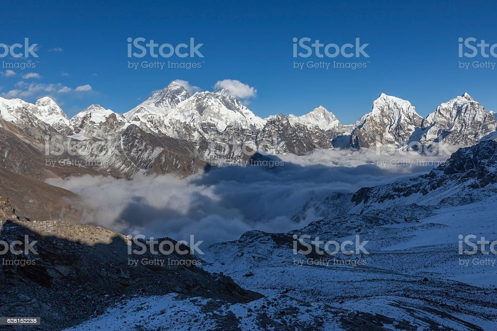 Mount Everest view from Renjo La pass. stock photo