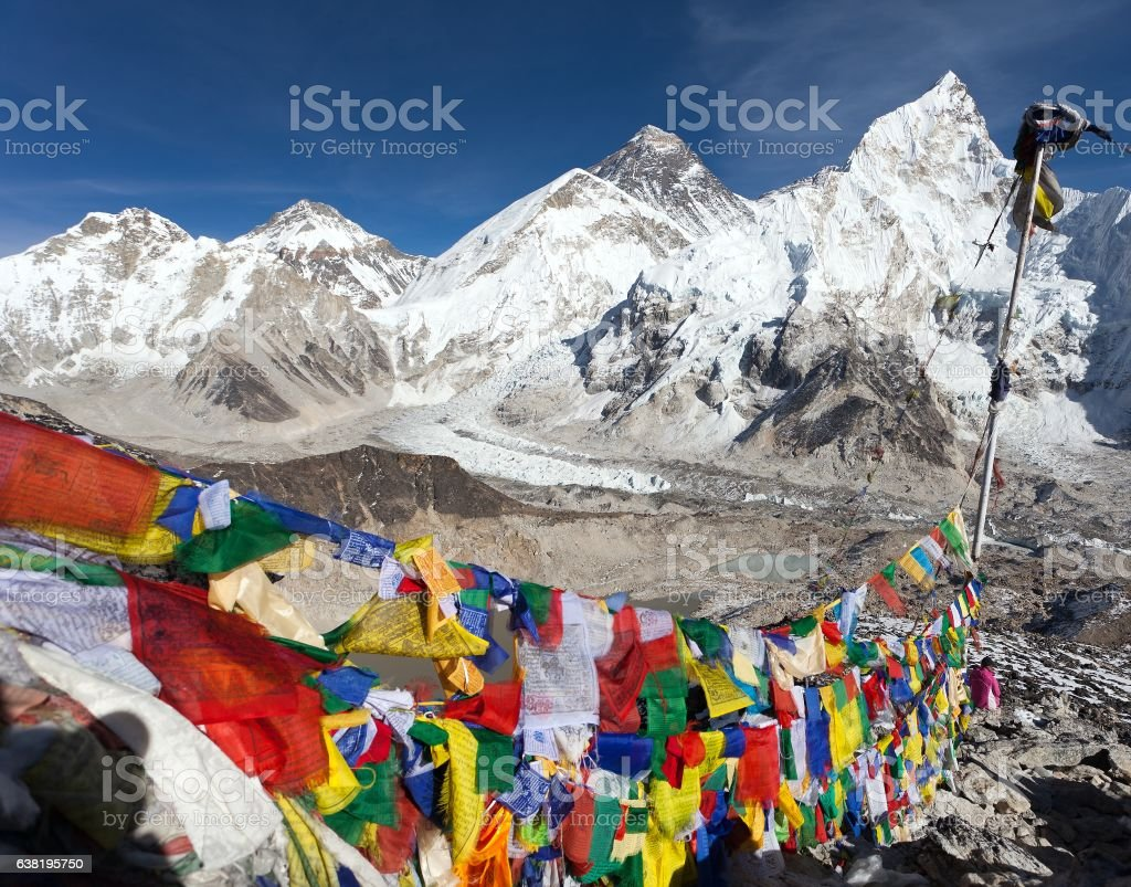 Mount Everest with buddhist prayer flags from Kala Patthar stock photo