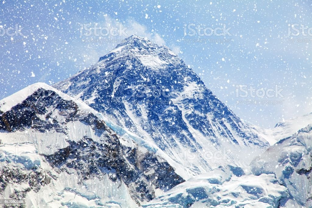 Mount Everest with snowfall from Kala Patthar stock photo
